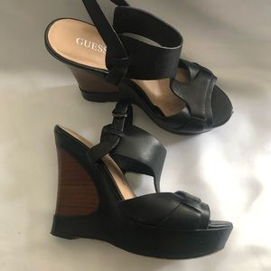 Guess by Marciano Black/Brown Heeled Wedge Sandals